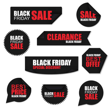 Black friday collection realistic curved paper stickers 矢量图像