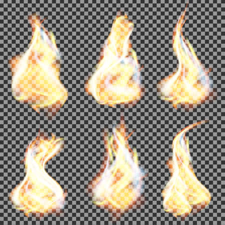 Realistic fire flames vector on transparent background
