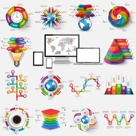 graphic presentation: Collection of infographic vector design template