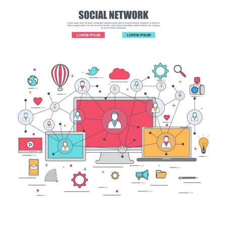 Thin line flat design concept for social network