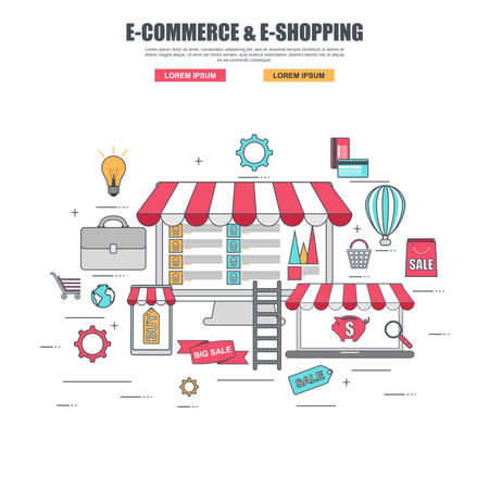 online purchase: Thin line flat design concept of purchase goods in online store Illustration