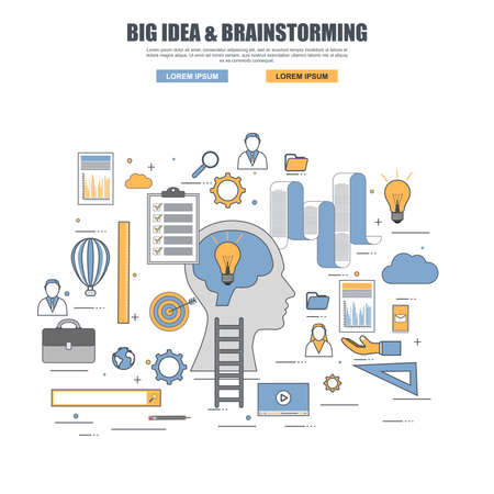 Thin line flat design concept of big idea, brainstorming 일러스트