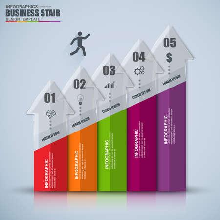Infografik Business-Treppe Erfolg Vektor-Design-Vorlage
