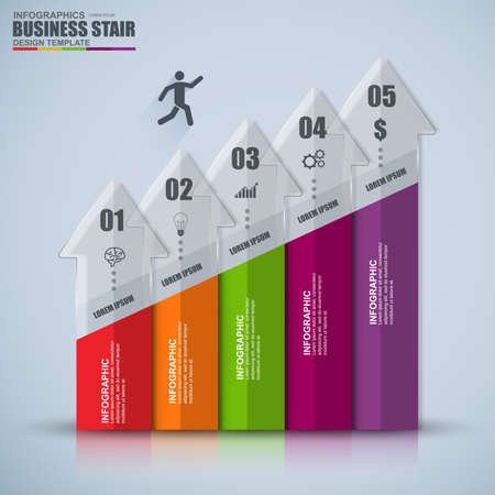 Infographic business staircase success vector design template