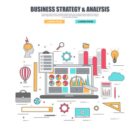 finance concept: Thin line flat design concept of marketing and strategy Illustration