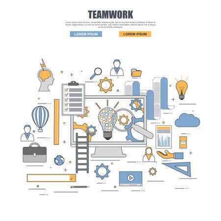 Thin line flat design concept of teamwork