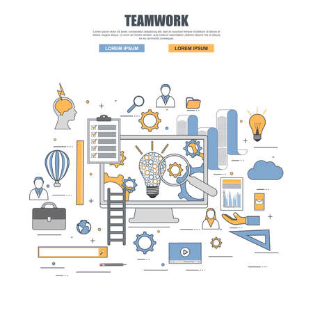 Thin line flat design concept of teamwork