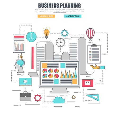 planificacion: Thin line flat design concept for business planning