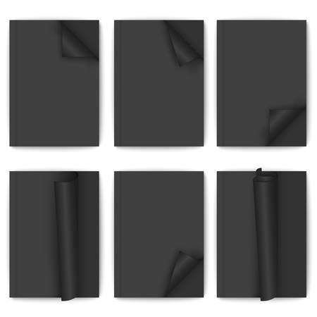 wrapped corner: Set of black paper brochure on white background Illustration