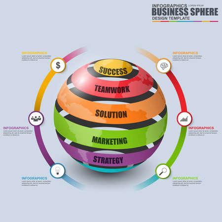 Abstract 3D digital business sphere Infographic