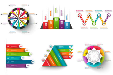 flow diagram: Collection of abstract 3D digital business infographic