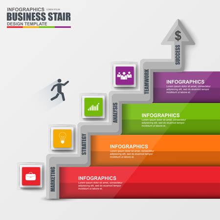 escalera: escalera de negocios de éxito paso plantilla de diseño vectorial Infografía.