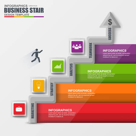 stairs: Infographics business stair step success vector design template.