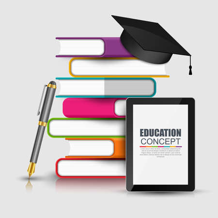 libraries: Books step education infographic vector design template.  Illustration