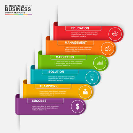 circle design: Abstract 3D digital business label Infographic. Can be used for business process with 6 options, steps, part, banner, number options, work plan, web design.