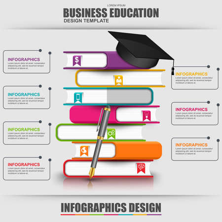 Books step education infographic vector design template. Can be used for e-learning concept, workflow processes, banner, poster, book concept, marketing, e-store banner, library books, bookstore.