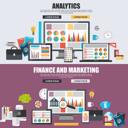 marketing research: Flat design concept of business big data analysis, global analytics, financial research report, marketing statistics. Concepts for web banner and printed materials.
