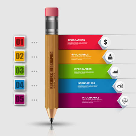 graphic illustration: Abstract 3D education wooden pencil Infographic. Can be used for workflow layout, data visualization, business concept with   5 options, parts, steps or processes, banner, diagram, chart, web design.