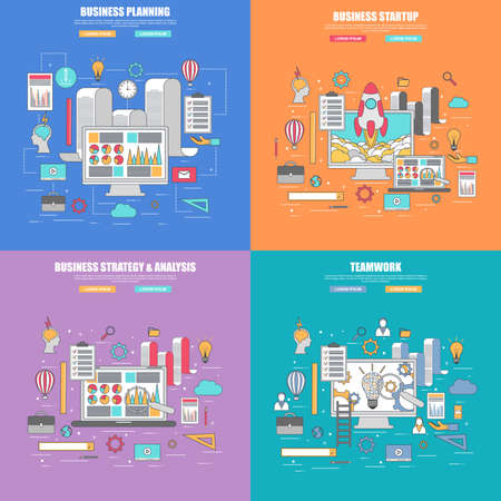 analysis: Set of 4 thin line flat design concept for business planning, strategy and analysis, startup and teamwork, infographic   elements vector illustration. Concepts for web banner and printed materials.
