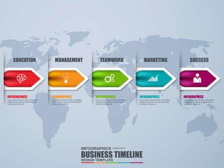 Timeline-Infografik Vektor-Design-Vorlage. Kann für Workflow-Prozesse, Banner, Diagramm, Anzahl Optionen, Datenvisualisierung, Zeitlinie, Arbeitsplan, Web-Design verwendet werden. Vektorgrafik