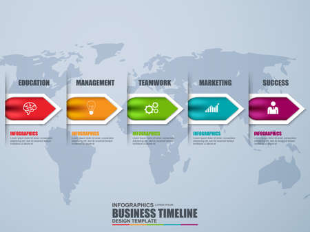 Timeline infographic vector design template. Can be used for workflow processes, banner, diagram, number options, data   visualization, time line, work plan, web design. Stock Illustratie