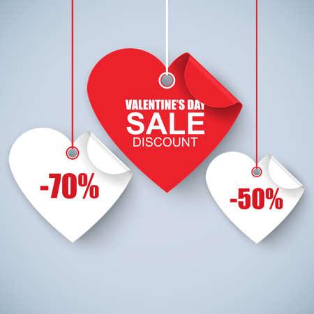 corazon: De San Valentín del corazón etiqueta de venta día, la plantilla del cartel. corazón rojo trenzado, aislado en fondo blanco. Ilustración del vector.