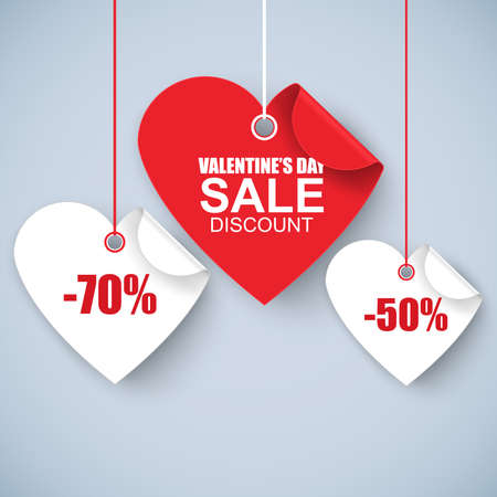 Valentines day heart sale tag, poster template. Red twisted heart, isolated on white background. Vector illustration. Çizim