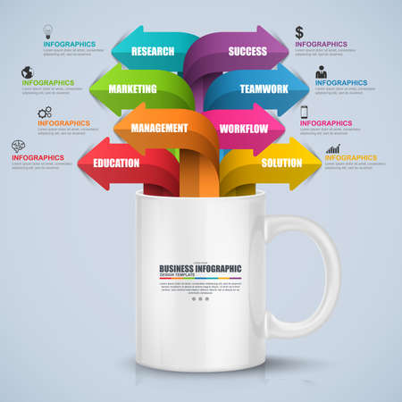 Abstract 3D digital business process Infographic. Can be used for workflow layout, data visualization, business concept with 8 arrow options, parts, steps or processes, banner, diagram, web design.