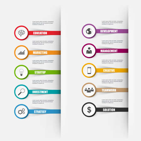 Infographics number options. Can be used for workflow layout, data visualization, business concept with 10 stick options, parts, steps or processes, banner, diagram, chart, web design.