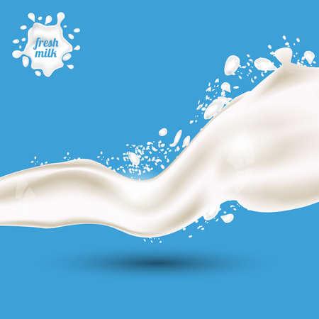 Spruzzata di latte isolato su sfondo blu. Illustrazione vettoriale.