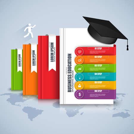 Livres étape éducation d'affaires infographique. Peut être utilisé pour les processus de workflow, bannière, diagramme, options numériques, plan de travail, conception de sites Web.