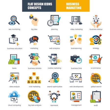 Conjunto de iconos del diseño plana concepto de marketing y estrategia de análisis, el comercio electrónico, los procesos de negocio globales, análisis SEO, datos de investigaciones financieras para los diseñadores gráficos y web. Ilustración de vector