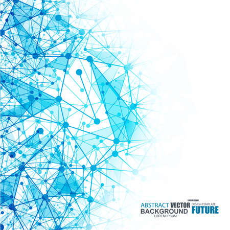 Abstract blue wireframe mesh polygonal background with connected lines and dots Illustration