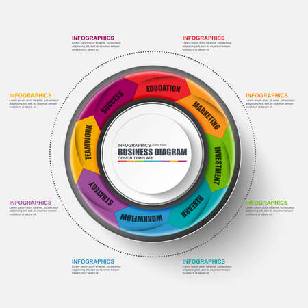 circular arrow: Abstract 3D business marketing Infographic. Can be used for workflow layout, data visualization, business concept with 8 options, parts, steps or processes, banner, cycle diagram, chart, web design.