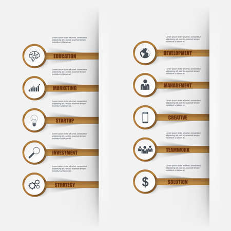 wooden stick: Infographics wooden stick number options. Can be used for workflow layout, data visualization, business concept with 10 stick options, parts, steps or processes, banner, diagram, chart, web design.