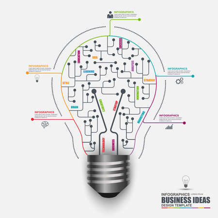 brain illustration: Infographic business light bulb vector design template. Can be used for workflow layout, data visualization, business concept with 5 options, parts, steps, banner, diagram, chart, web design.