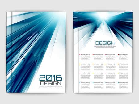flujo: Conjunto de folletos fractal futurista. Elementos del vector de onda modernas para web, impresión, revista, folleto, folleto, los medios de comunicación, visualización de datos, marketing, folleto, cartel, y conceptos de publicidad.