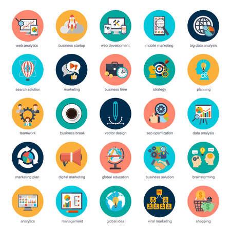 Jeu de plate icônes du design concept marketing et stratégie d'analyse, e-commerce, les processus d'affaires global, l'analyse seo, les données de recherche financières pour les concepteurs graphiques et Web.
