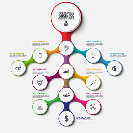 Abstract 3D business tree Infographic. Can be used for workflow layout, data visualization, business concept with 12 options, parts, steps or processes, banner, cycle diagram, chart, web design.