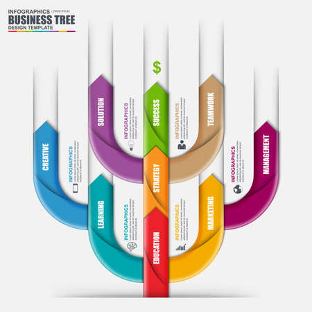 design template: Infographic arrow tree vector design template. Can be used for workflow processes, banner, diagram, number options, timeline, work plan, web design.