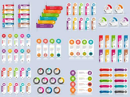 Conjunto de opciones de infografía plantilla de diseño vectorial. Puede ser utilizado para el diseño de flujo de trabajo, la visualización de datos, concepto de negocio con 10 opciones, partes, etapas o procesos, bandera, diagrama, diseño de páginas web.