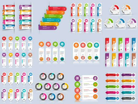 Set of infographic options vector design template. Can be used for workflow layout, data visualization, business concept with 10 options, parts, steps or processes, banner, diagram, chart, web design.