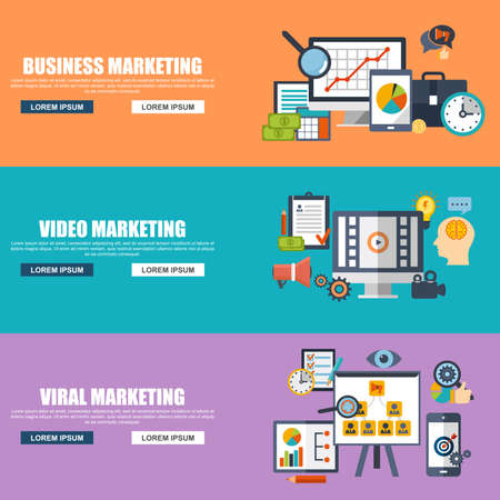 internet marketing: Flat design concepts for business marketing, viral video production, digital marketing campaign, internet medium mass communication, media sharing. Concepts for web banner and printed materials.