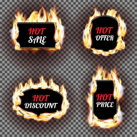 sale tag: Set of fire flame labels vector design. Can be used for price and sale, deal and offer, special tag or badge, hot offer in the store, e-commerce, business promotion.