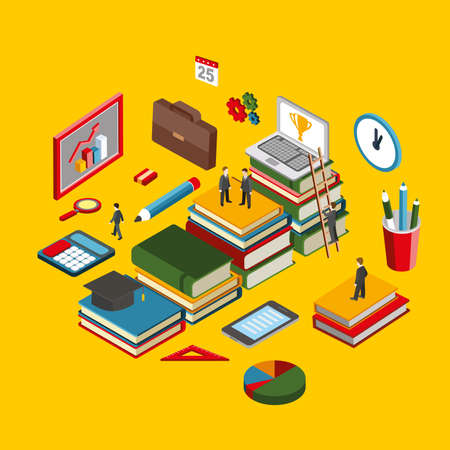 student with books: Flat 3d isometric creative stair success with books education infographics knowledge concept. Graduation back to school concept. Creative people collection. Illustration