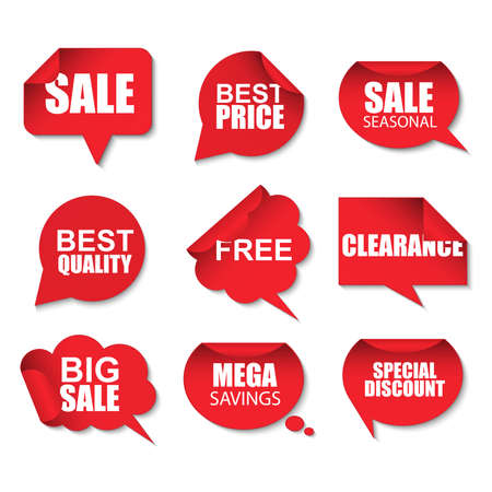 wrapped corner: Set of red sale realistic curved paper speech bubbles stickers on white background. Can be used for e-commerce, e-shopping, flyers, posters, web design and printed materials.
