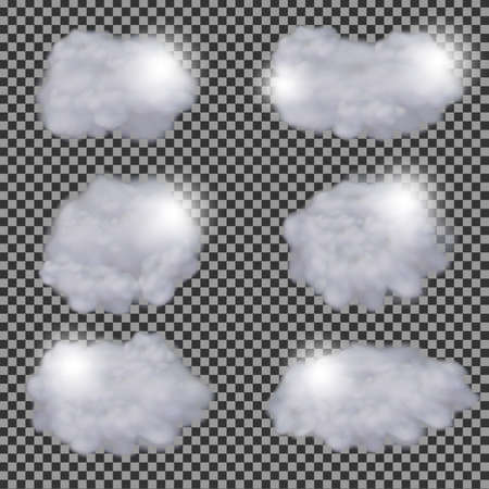 Set of realistic transparent different clouds vector design template Illustration