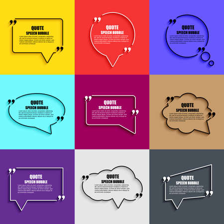 Quote speech bubble vector design template. Circle business card template, paper sheet, information, text. Print design.   Short quotes in quotation marks.