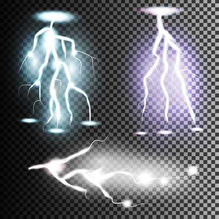 Collection of the isolated realistic lightnings with transparency for design. Thunder-storm and lightnings. Bright lighting   effects. Illustration
