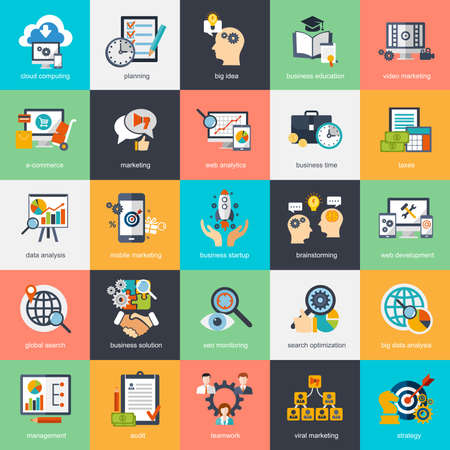 Set of modern flat design concept icons for internet marketing, e-commerce, business. Icons can be used for websites, print   and presentation templates, infographics, web and mobile services and apps.